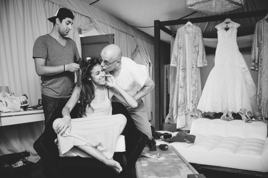 préparatifs de la mariée à la villa taj OMayma