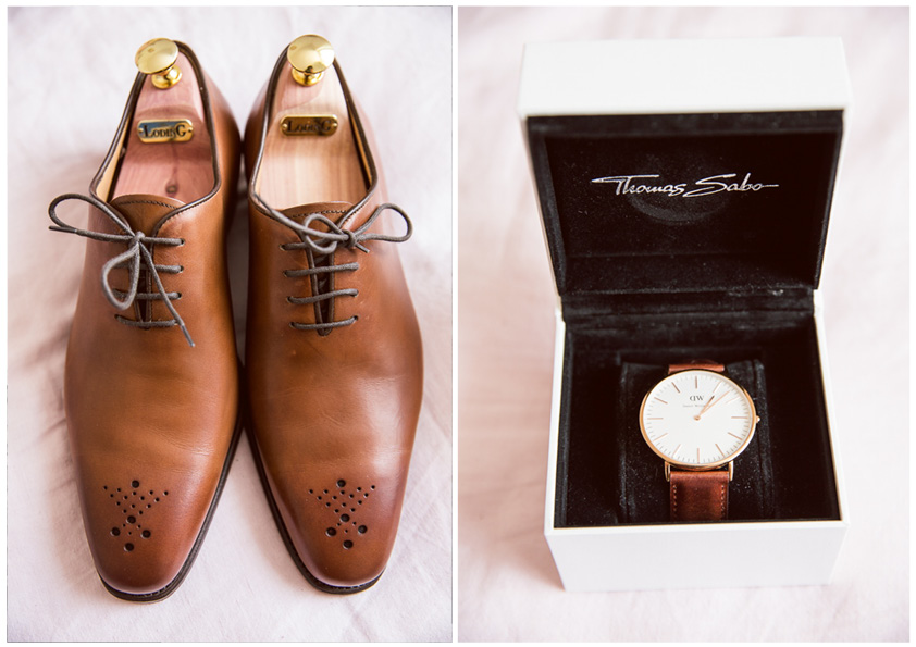chaussures de mariage et montre