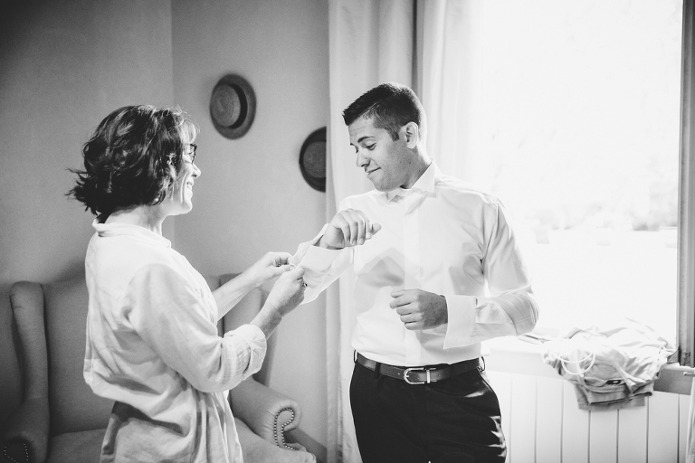 Habillage mariage au Manoir de Clénord